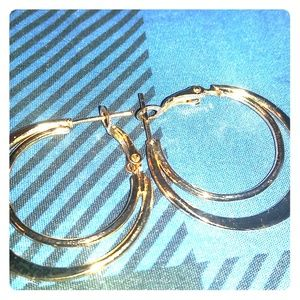 Golden double loop hoop earrings
